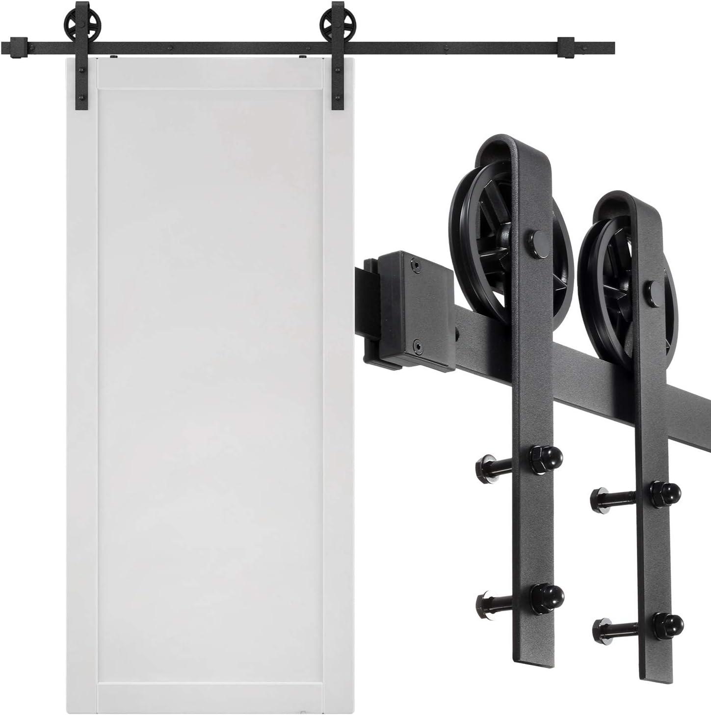VIPEK 6.6 FT Heavy Duty Sliding Barn Door Hardware Kit Sliding Track Double Rail fit for 36 to 40 inch Wide Door Panel Black Industrial Big Wheel Hangers