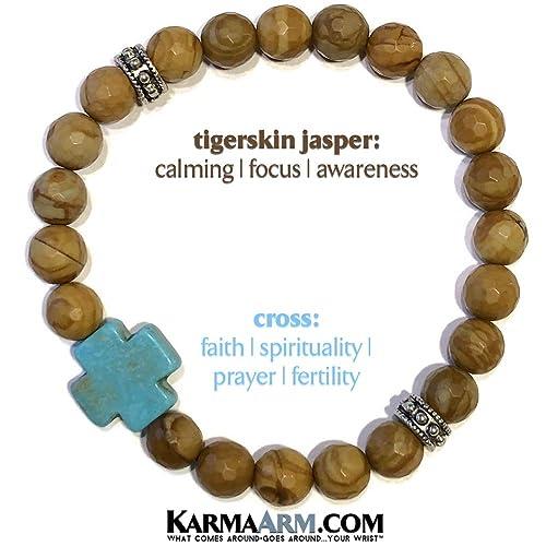 KarmaArm Womens Spiritual Bracelets Beaded Meditation Stretch Mantra Reiki Healing Energy Boho Chakra Wrap Yoga Jewelry /& Gemstone Mens Gifts Calm Howlite Cross Gifts for Her Tigerskin Jasper
