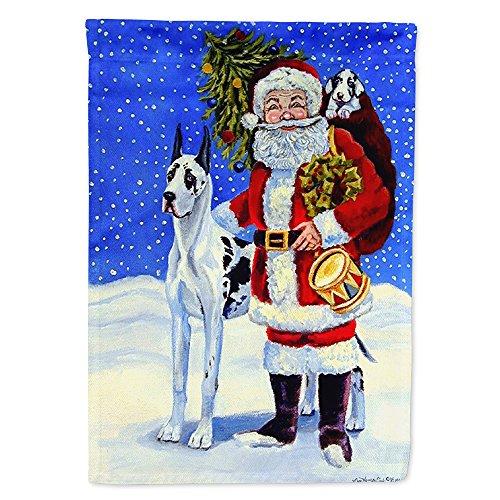 Harlequin Santa (Caroline's Treasures 7083GF Harlequin Great Dane with Santa Claus Flag Garden Size, Small, Multicolor)