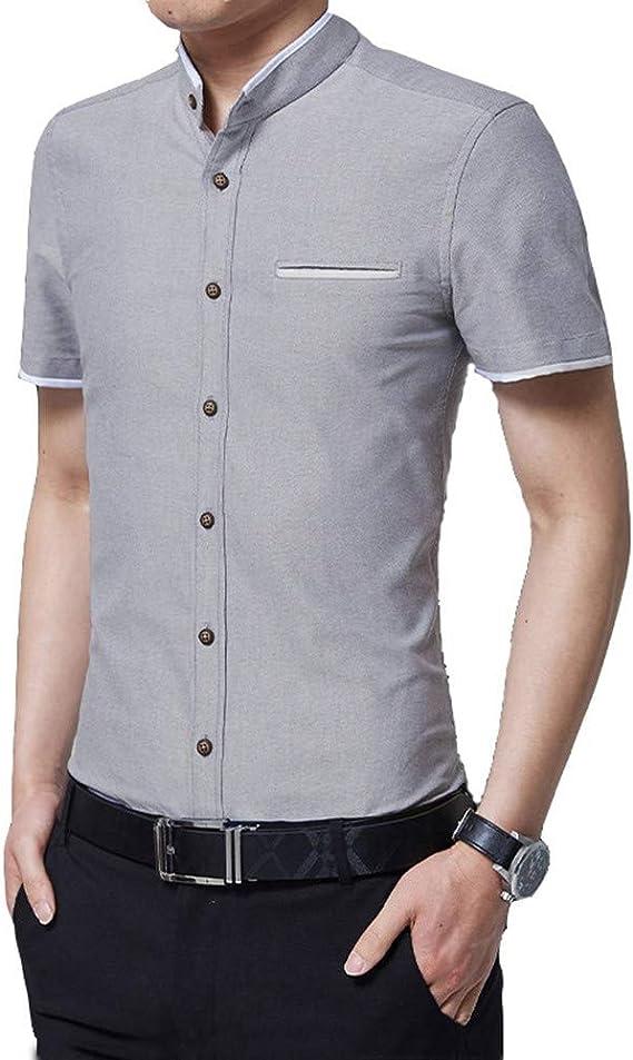 GSHGA XXGCamisas de Manga Corta para Hombre Camisa de Vestir de Corte Slim de Moda para Hombres Camisa Casual , Camisa de Botones Ajustada sólida de Fibra de bambú para Hombres, elástica: