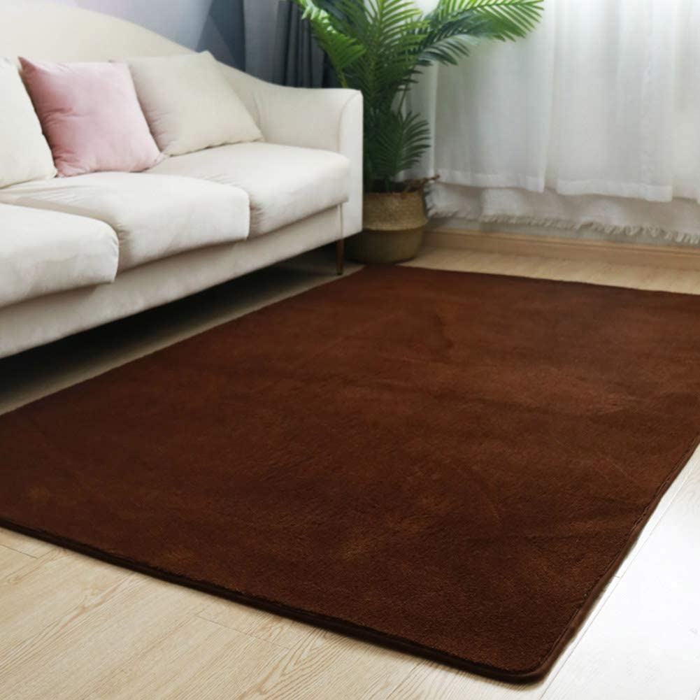Shaggy Soft Area Rug,Anti-Skid Home Decor Solid Color Carpets,Child Playing Mat for Living Room Kids Room Nursery Bedroom Dark Brown 6'5x9ft(200x280cm)
