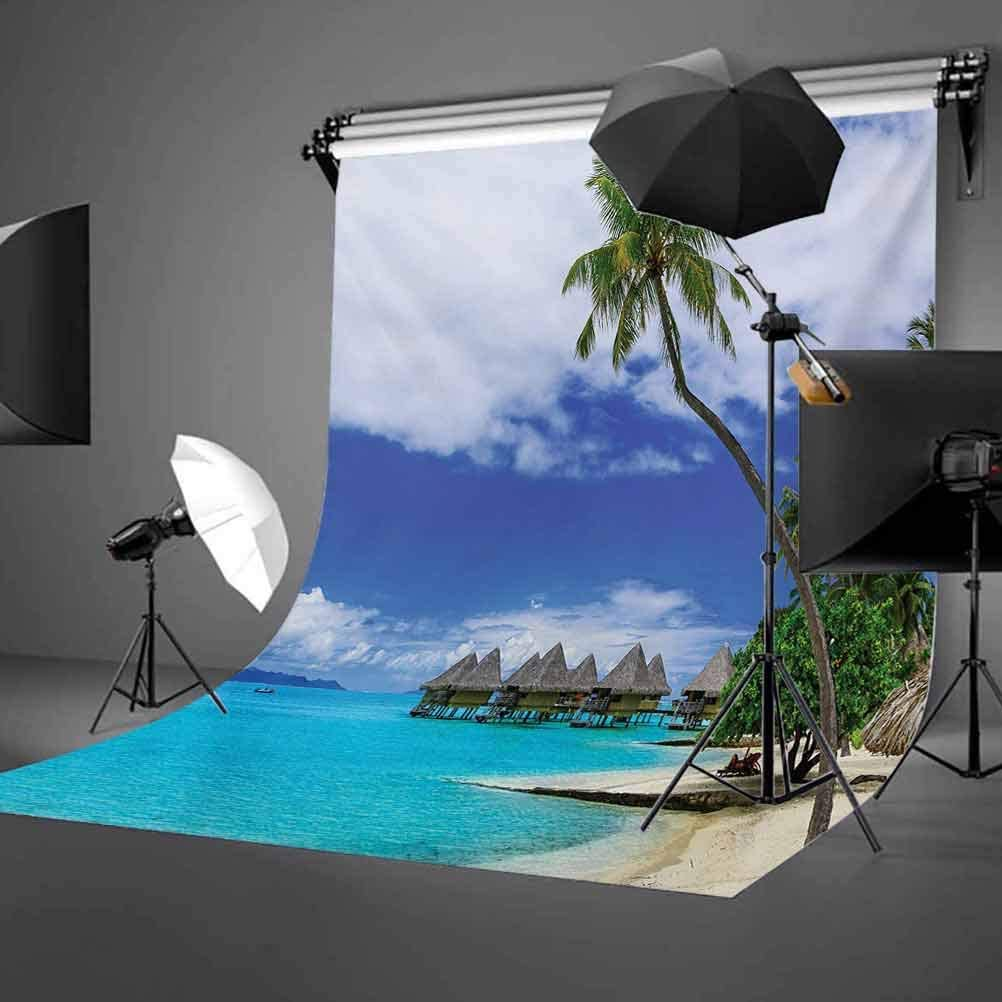 Tropical 10x15 FT Photo Backdrops,Water Bungalows of Tropical Resort Bora Bora Island Pacific Ocean Panorama Background for Child Baby Shower Photo Vinyl Studio Prop Photobooth Photoshoot