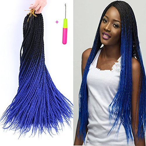 Senegalese Twist Crochet Hair Two Tone Kanekalon Braiding Hair Belleshow Synthetic Hair Extensions Crochet Braids Senegalese Box Braids (3 pcs 24 inch, - Twist Tone Two