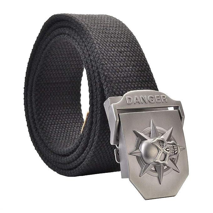 ... Cinturón Para Hombre Ocio Cinturón Para Hombre Con Cinturón Lona Con  Hebilla De De Especial Estilo Calavera 3D 110 140 Cm  Amazon.es  Ropa y  accesorios 99b4a6d47cd5