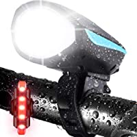LETOUR Bike Light with Loud Bike Horn, Rechargeable Bicycle Light Waterproof Cycling Lights, Bicycle Light Front with…