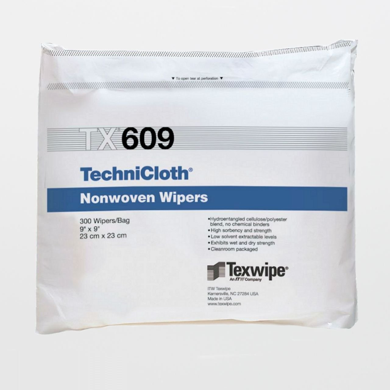 Case of TX609 TechniCloth 9'' x 9'' Cellulose and Polyester Cleanroom Wiper - 10 Bags of 300 Wipers (3000 Total) by Itw Texwipe
