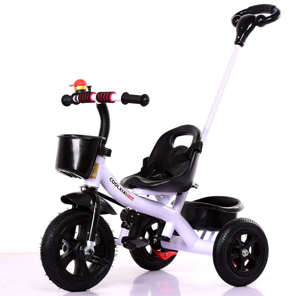 Fenfen子供の三輪車ベビー自転車1 – 5歳の子供自転車ベビーベビーカー着脱プッシュハンドル、ホワイト、7180 CM B07C55B3LP
