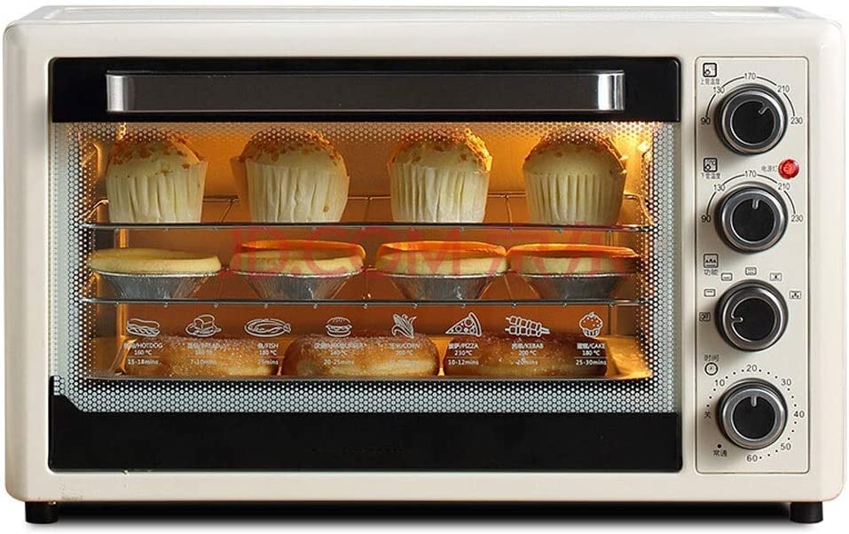 Electric Mini Oven - 32L Curved Liner Household 4-layer Multi-function Large Capacity Baking Oven, 51x33x31cm toaster oven tiny ovensv XIEJING (Color : Beige)
