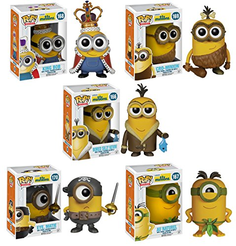 Funko Minions POP! Movie Collectors Set: Minion King, Cro-Minion, Kevin, Eye Matie, Au Naturel Action Figure