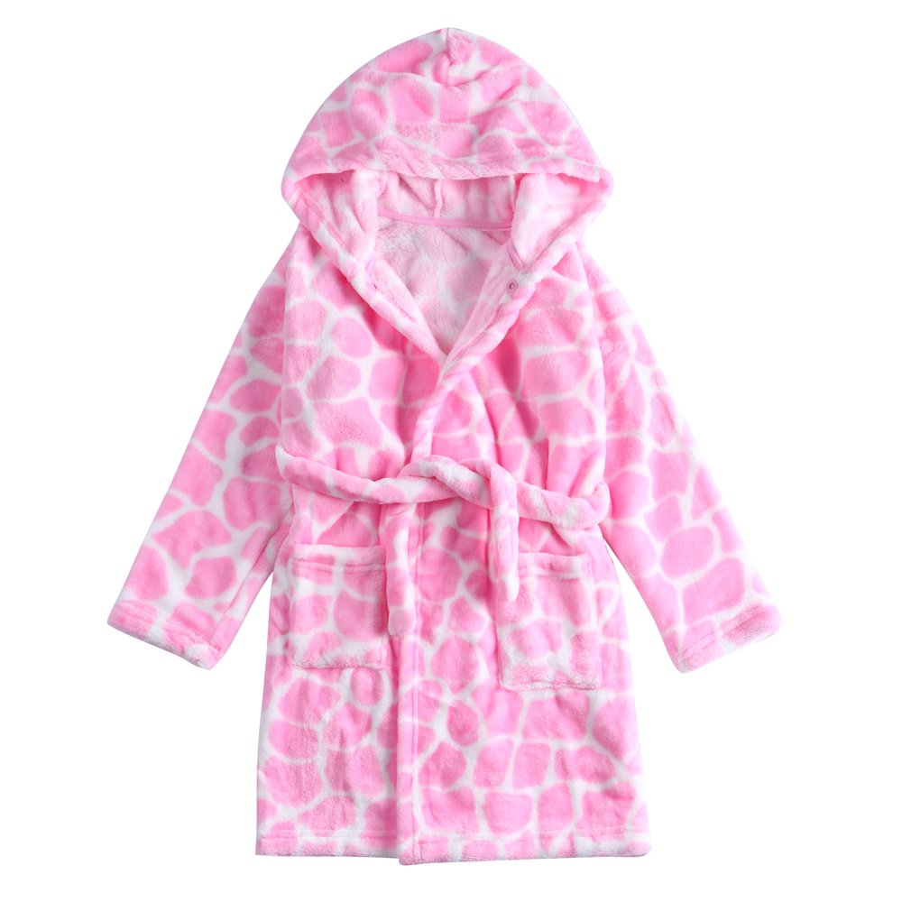 CHENXIN Toddler Bathrobe Kids Cow Coral Fleece Hooded Pajamas Sleepwear