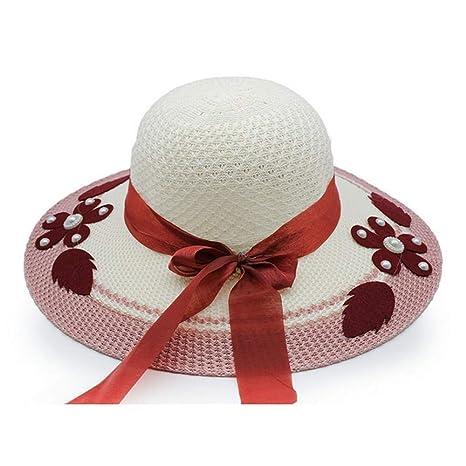 Sombreros de Paja de Flores para Mujeres Sombrero de Cubo de Sombrero de Sol  Sombrero de a7bd8ba64af
