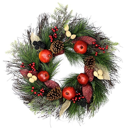"Custom & Unique (24"" Inches) 1 Single Large Size Decorative Holiday Wreath for Door, Made of Resin w/ Winter Festive Branches, Berries, Apples, & Pine Cones Style (Red, Yellow, Purple, Brown, & Green)"