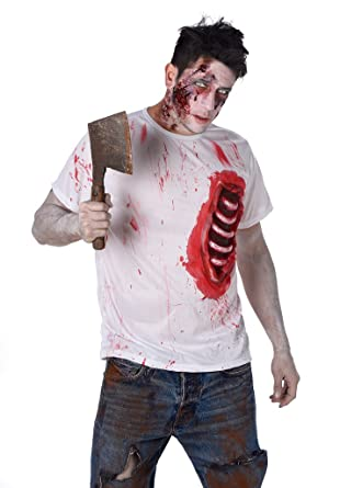 scary zombie costume zombie halloween t shirt with bloody rib rack size s