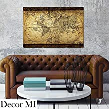 """Decor MI Vintage World Map Canvas Wall Art Retro Map of the World Canvas Prints Framed and Stretched for Living Room Ready to Hang 24""""x35"""""""