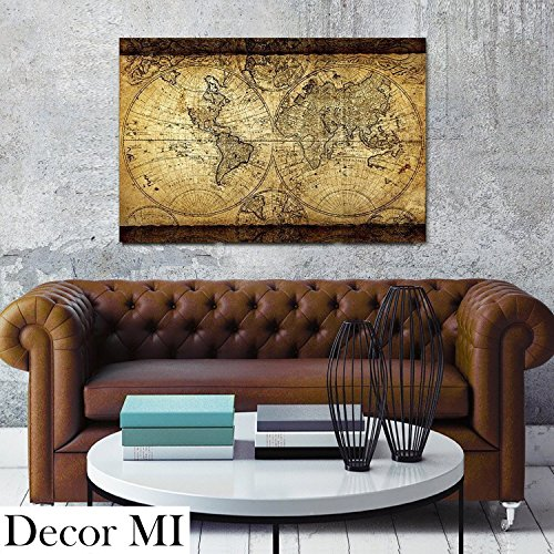 Decor MI Vintage World Map Canvas Wall Art Retro Map of the World Canvas Prints Framed and Stretched for Living Room Ready to Hang - Map Vintage Posters