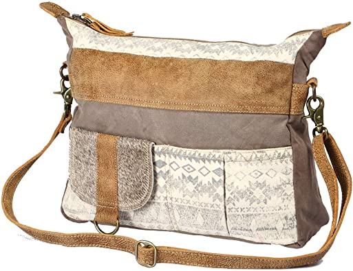 Amazon Com Myra Bag Tribe Strip Upcycled Canvas Cowhide Leather Bag S 1210 Shoes Each bag is uniquely individual due to slight color and marking variations on natural leather. myra bag tribe strip upcycled canvas cowhide leather bag s 1210