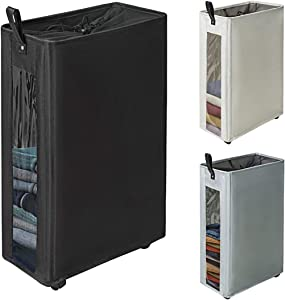 "ZERO JET LAG 27 inches Slim Laundry Hamper Large Tall Laundry Basket on Wheels Clear Window Visible Dirty Clothes Hamper Thin Clothes Storage Standable Corner Bin Handy 16""×8.6""×27"" Black"