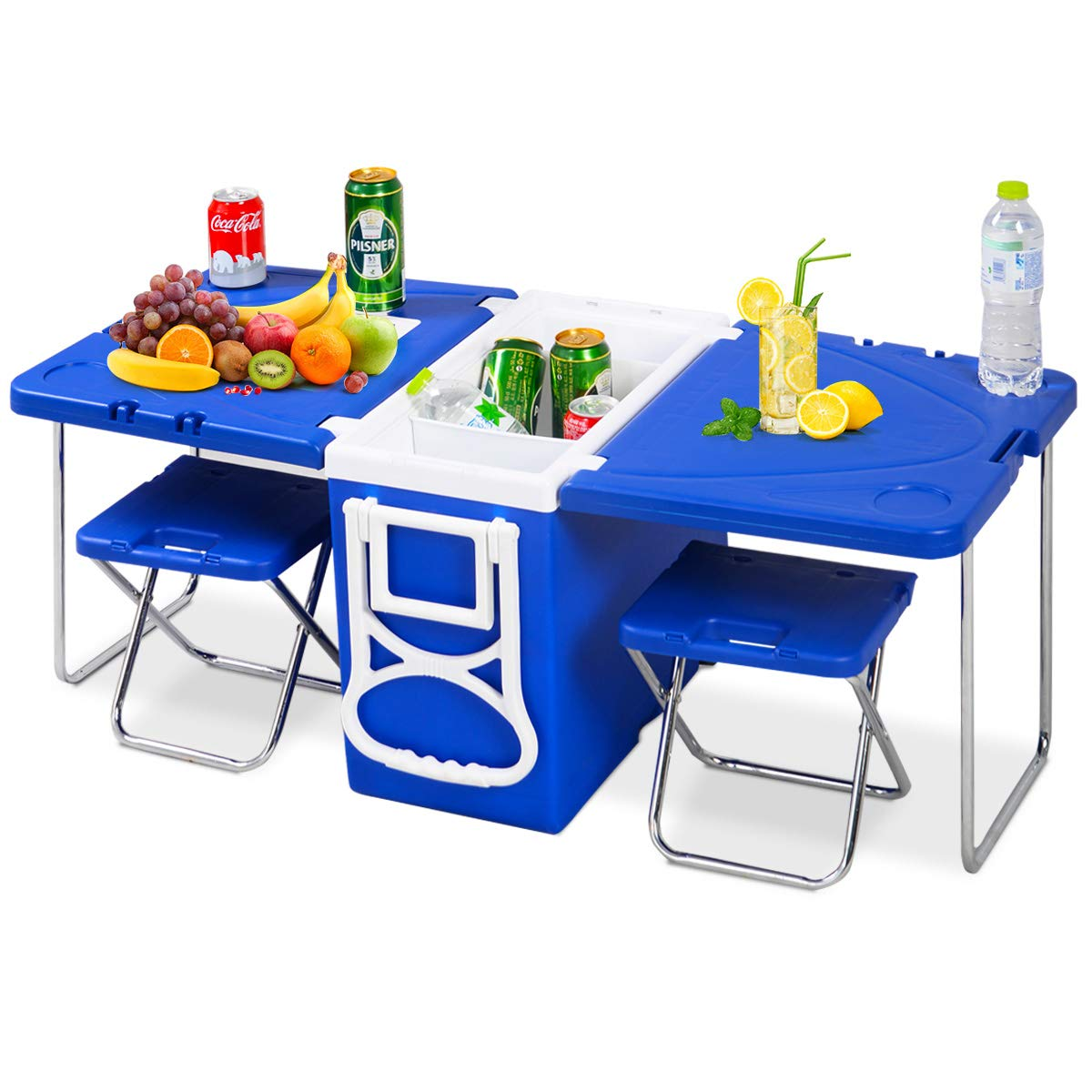 Giantex Rolling Cooler Picnic Table Multi Function for Picnic Fishing Portable Storage Food Beverage Included Foldable Table W/ Two Chairs Camping Trip Cooler Children Size (Blue) by Giantex