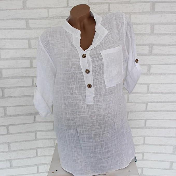 Mujer Blusa tops Elegante sexy casual urbano hogar estilo,Sonnena Camisa de manga larga de blusa suelta bolsillo de botón transparente translúcido de las ...