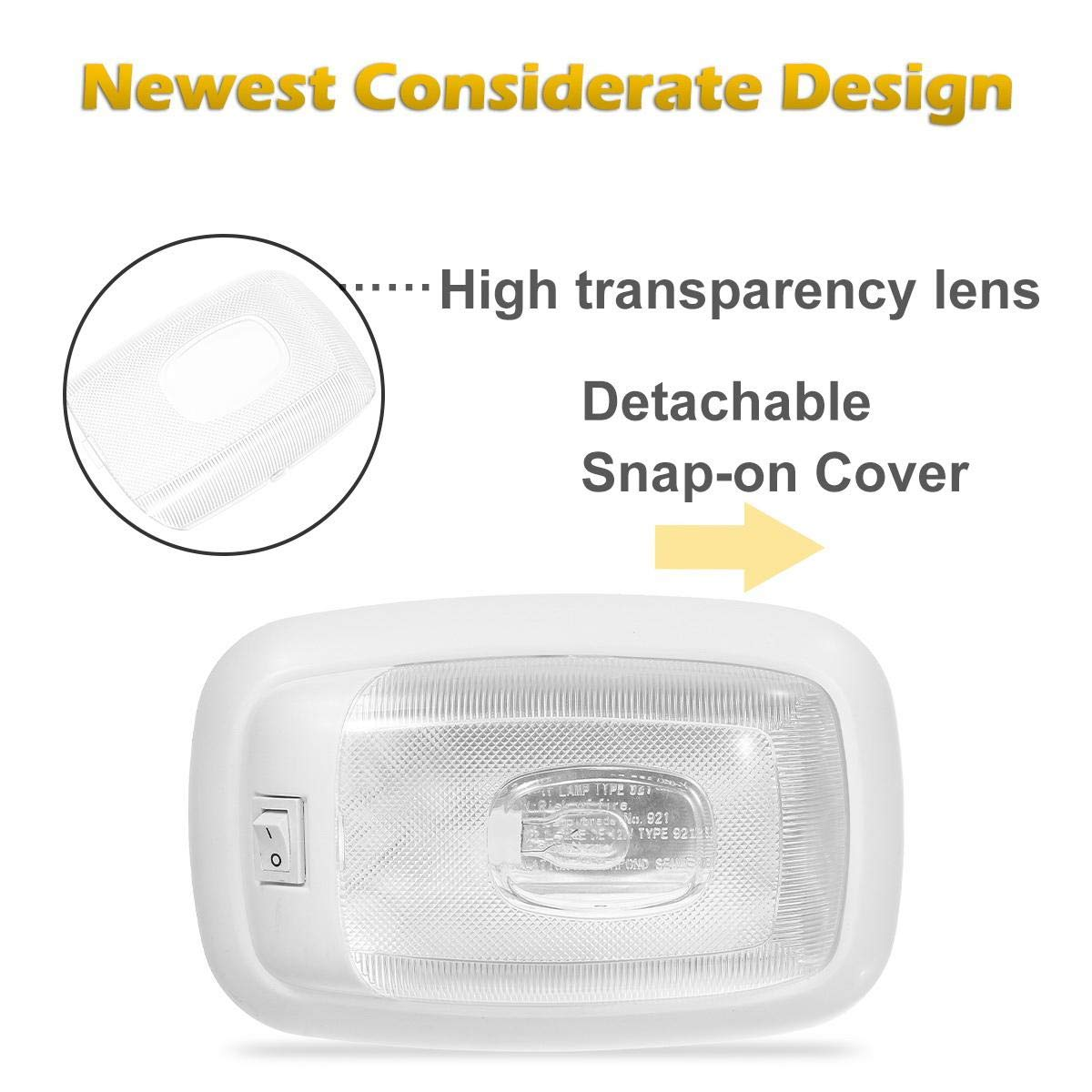 Warm White 2PCS Partsam 12V Halogen Single RV Ceiling Dome Light Fixture RV Interior Lighting Lights with On//Off Switch and Removable Lenses for RV Motorhomes Campers 5th Wheels Trailers Makeover