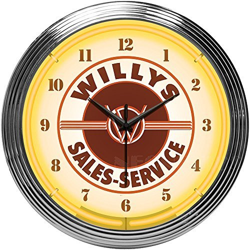 Neonetics Willys Sales Service Jeep Neon Clock by Neonetics