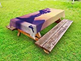 Lunarable Volcano Outdoor Tablecloth, Dangerous Natural Activity in Anak Krakatau Indonesia Mountain with Smoke, Decorative Washable Picnic Table Cloth, 58 X 104 Inches, Purple Coral Mustard