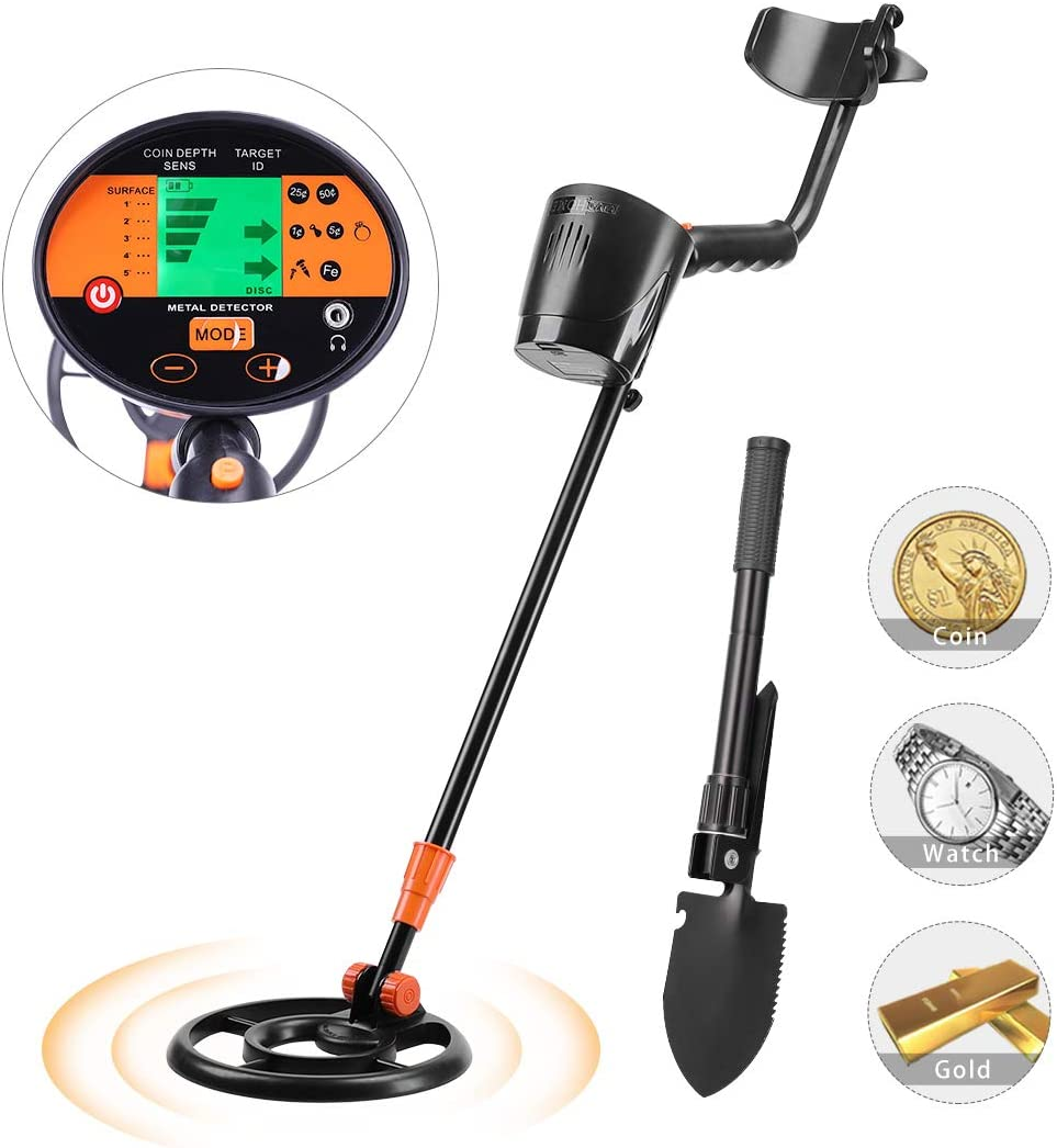 VIVOHOME Metal Detector Waterproof with Foldable Camping Shovel for Adults Kids, Adjustable Length 32-44 inch, High Accuracy with a HD LCD Screen