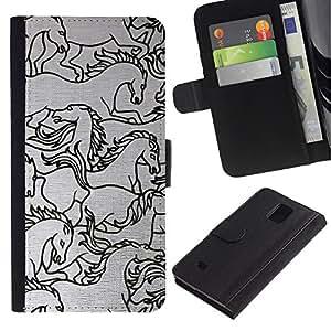 Paccase / Billetera de Cuero Caso del tirón Titular de la tarjeta Carcasa Funda para - horse drawing sketch black white art - Samsung Galaxy Note 4 SM-N910