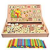 Elloapic 100PCS Wooden Number Sticks + 70PCS Bricks Blocks Mathematics Material Educational Toy + time learning Snail Teacking Clock Time Learning for Kid Child Maths Early Education Learning