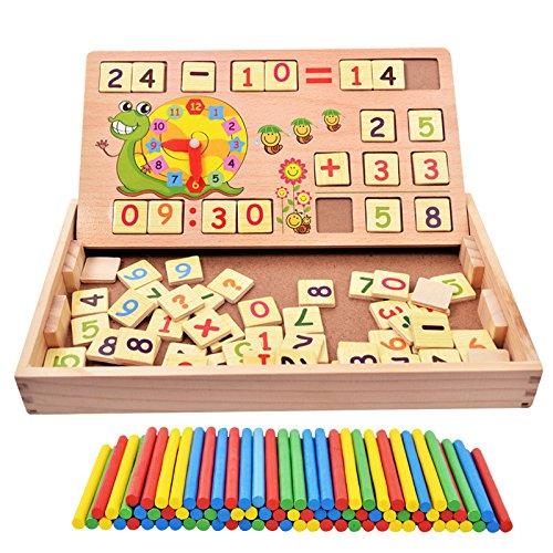 100pcs bâtonnets + 70pcs plusieurs blocs en bois briques mathématiques matériel jouet éducatif + escargot teacking heure d'apprentissage pour enfant enfant mathématiques l'éducation précoce de l'apprentissage HappyToy