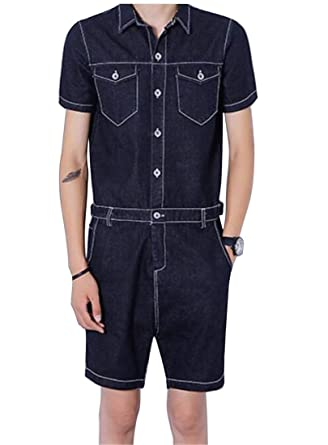 50db6747d9 Bloomyma-Men Jumpsuit Romper Multi Pockets Short Sleeve Zipper Denim Lapel  Cargo Shorts No Belt