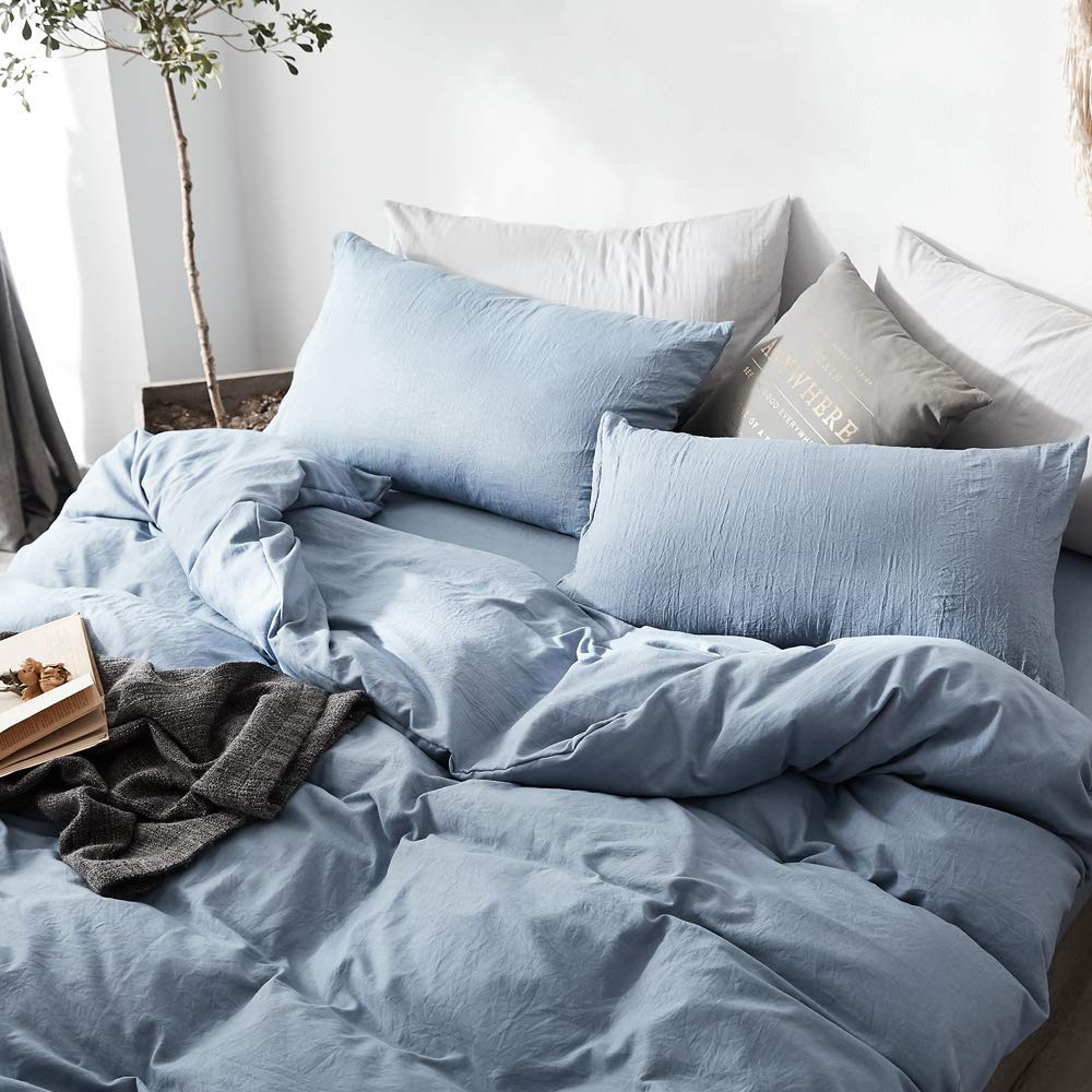 BuLuTu Comfy Washed Cotton Duvet Cover Set,Super Soft Duvet Cover and 2 Pillowcases for Kids Adults,Solid Blue Color Boys Bedding Sets with Zipper Closure,No Comforter Twin Size