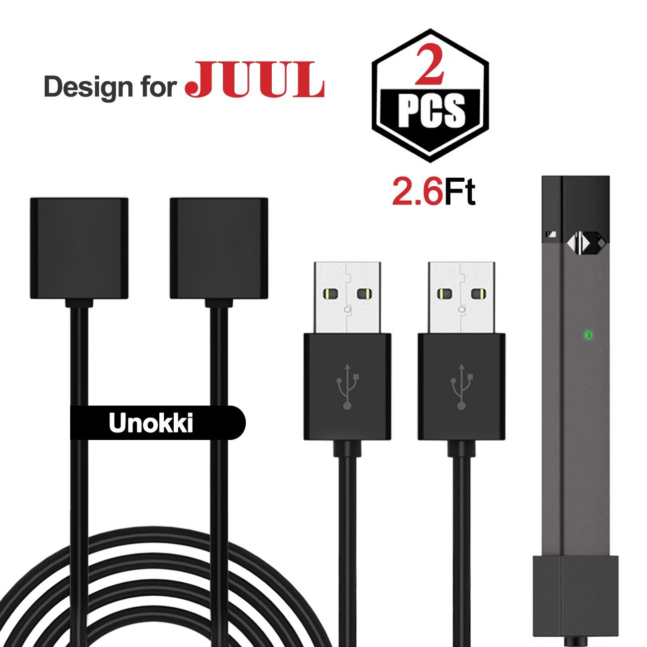 Unokki JUUL USB Charger Magnetic Charger USB Cable Fast Charging 2 Packs (2.6 Ft Long each)