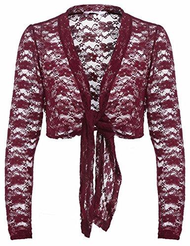 Sleeve Lace Bolero Shrug Tie Front Cropped Open Cardigan (Lace Nylon Tie)