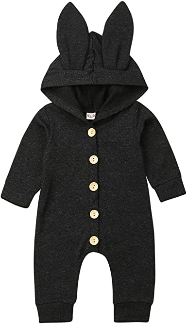 Newborn Baby Boys Girls Rabbit Ears Long Sleeve Hooded Romper Striped Bodysuit Jumpsuit Outfits Clothes