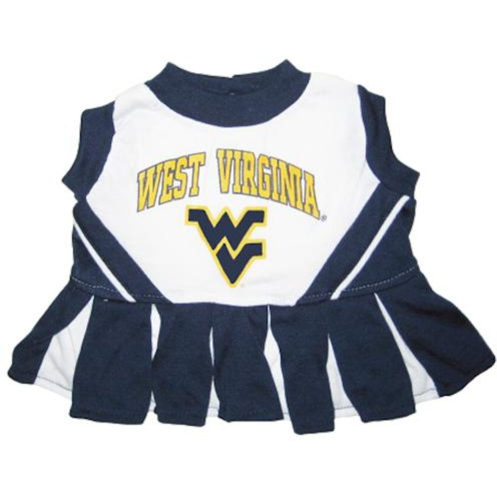 S Pets First Collegiate West Virginia University Dog Cheerleader Outfit, Small
