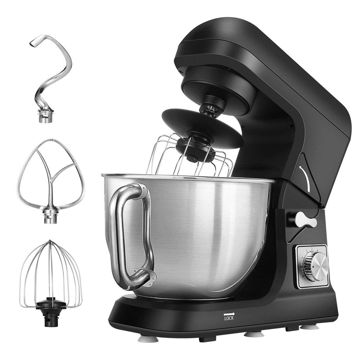 Stand Mixer, Dough Mixer with 5 Qt Stainless Steel Bowl, 6 Speeds Tilt-Head Food Mixer, Kitchen Electric Mixer with Double Dough Hooks, Whisk, Beater, Pouring Shield, Black by CUSIBOX