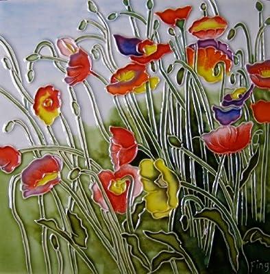 Continental Art Center BD-0289 8 by 8-Inch Multi-Color Poppy Field Ceramic Art Tile