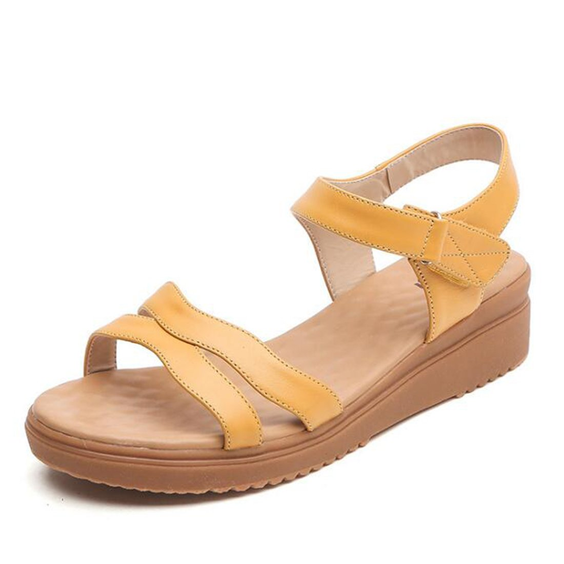 ZHONGST Frau Sommer Leder Sandalen Casual Fashion Plattform Atmungs Sandalen  36|Yellow