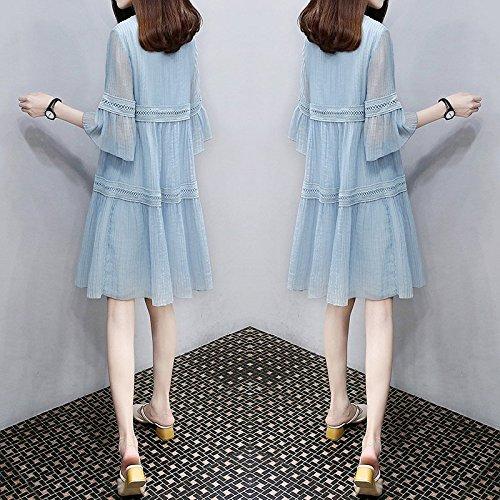 MiGMV?Poupes poupe Robes Une Robe de Mousseline Long Moyen lache, Femme de l't,2XL, Bleu