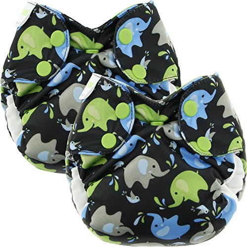 Blueberry Newborn Simplex All in One Cloth Diapers, Bundle of 2, Made in USA (Elephants)