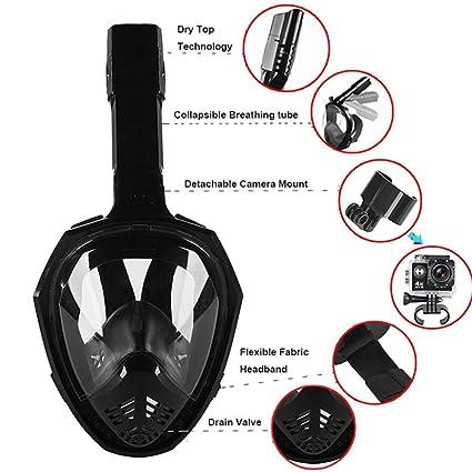Amazon com: Anti-Leak Diving Snorkel Mask, MeiLiio Foldable
