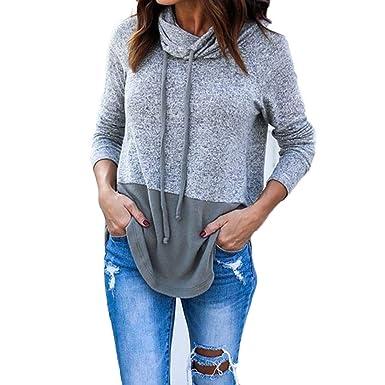 98abe65c12fb9 AOWEI EC Sweat Shirt Femme Sweat sans Capuche Gris Sweatshirt Pull Manche  Longue Casual Oversized Tops: Amazon.fr: Vêtements et accessoires