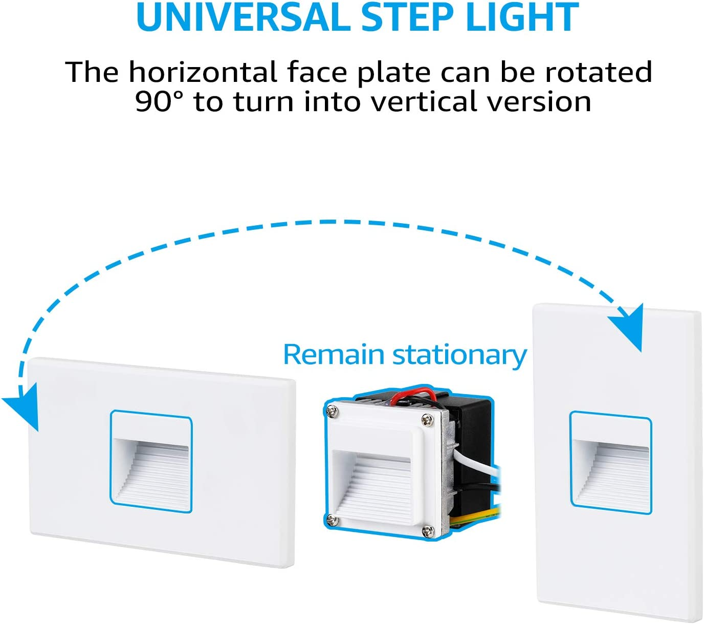 Aluminum Waterproof ETL Listed Indoor Outdoor Step Light 2.5W 125lm CRI90 Vertical-Horizontal 3000K Warm White TORCHSTAR 120V Dimmable LED Universal Oil Rubbed Bronze 5-Year Warranty Pack of 3