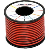 TUOFENG 22 AWG Silicone Insulated Electrical Wire 100 ft 2 Conductor Parallel Wire - Flexible Silicone Wire of Stranded Tinned Copper Wire, Solder Through Quickly