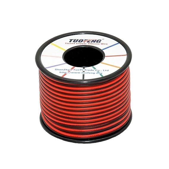 TUOFENG 22 AWG Cable eléctrico 60 metros [Negro 30 metros Rojo 30 metros] Cable flexible de silicona 2 Conductor Línea de cable paralelo Conexión ...