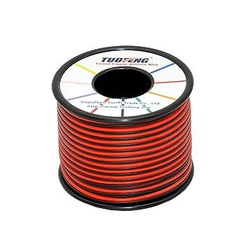 TUOFENG 22 AWG Cable eléctrico 60 metros [Negro 30 metros Rojo 30 metros] Cable