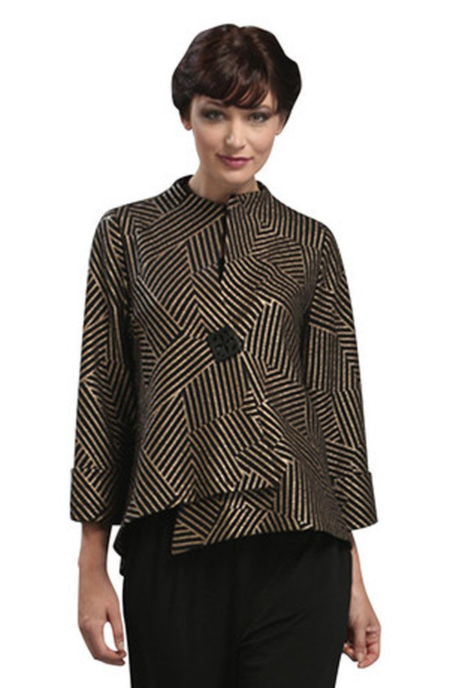 IC Collection - Bronze Lines, Geometric Pattern 3/4 Sleeve Asian Style Jacket