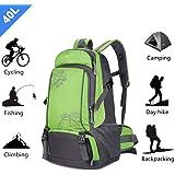 Hiking Backpack Outdoor 40L Trekking Rucksack Bag Women Men Daypack for Camping Cycling Travel Mountaineering Picnics (Green & Black)
