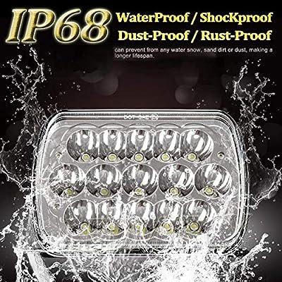 7x6 LED Headlights,2PCS 45W Sealed Beam Rectangular 5x7 LED Headlight High/Low Beam Universal Headlamp Dot for Jeep Cherokee Off-road Truck Harness Replace H6054 H5054 H6054LL: Automotive